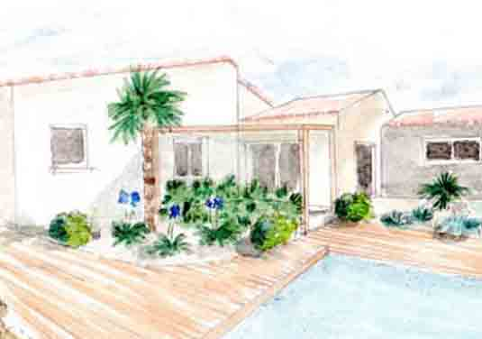 Projet terrasse pergola bois jardin perigny 17