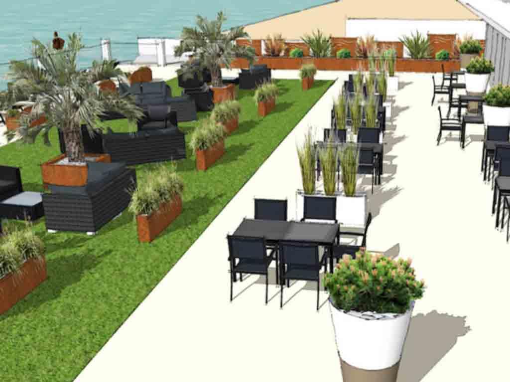 Vegetalisation et amenagement de terrasse hôtel La Rochelle